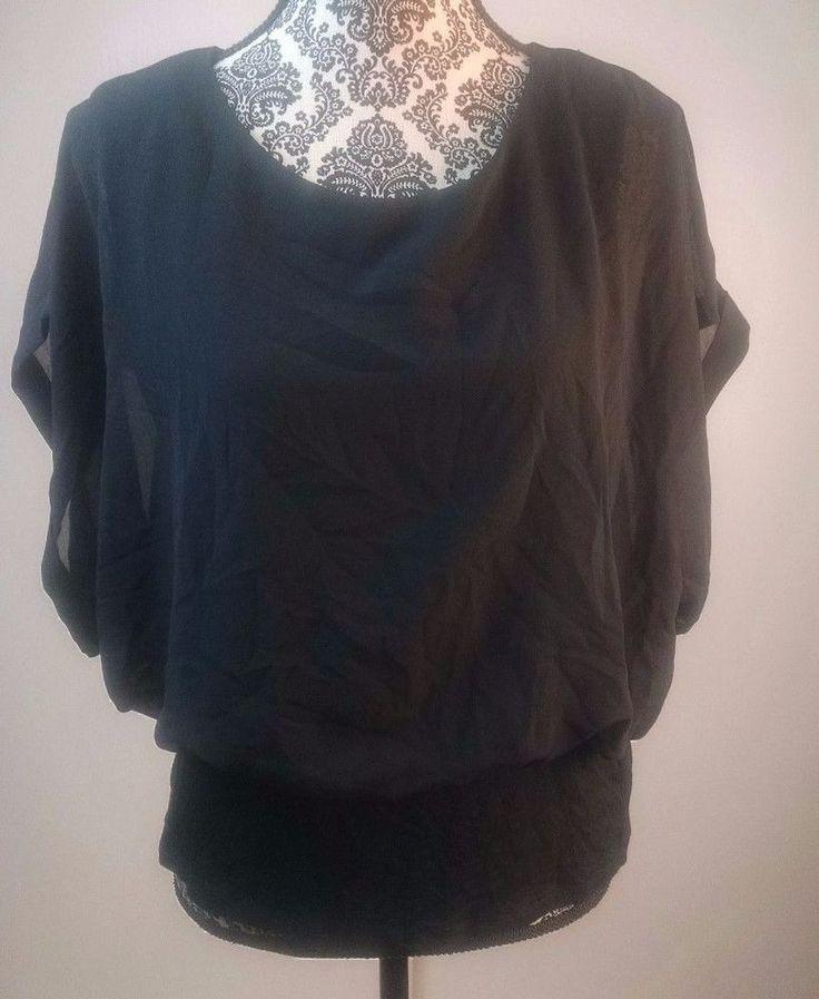 Joseph A blouse size large black banded bottom stretch flutter sleeve top womens #JosephA #Blouse #Career