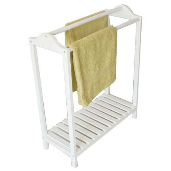 Howards Storage World | 3 Rail White Wooden Towel Stand