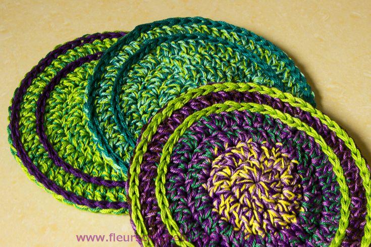 Scrap crochet thread coasters Crochet Pinterest