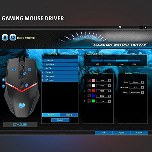 AMIR Gaming Mouse, USB Wired Ergonomic Optical Gaming mice