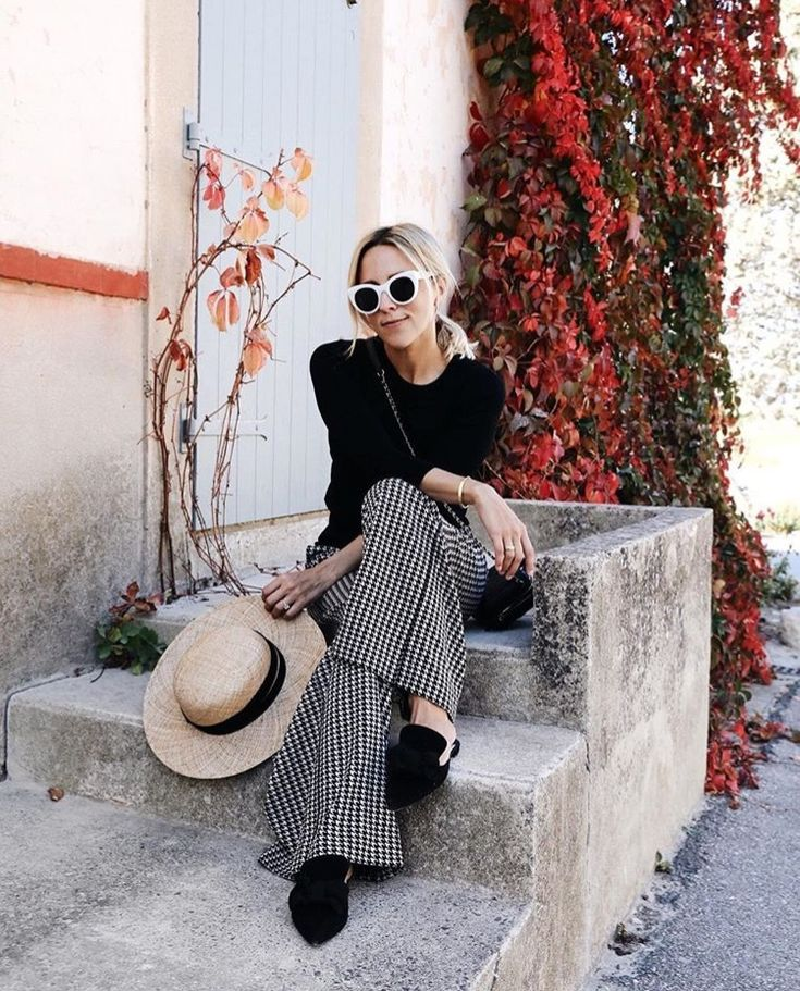 AW trends, style inspiration, houndstooth trousers, wide leg trousers, wide leg trousers outfit ideas, shop the look, get the look for less