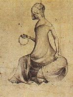 A woman studying her paternoster. Paris, circa 1400  from a pen and ink drawing in the Staatliche Museen  Preussischer Kulturbesitz, Kupferstichkabinett, Berlin  Note the hair style and the cut of the neckline.