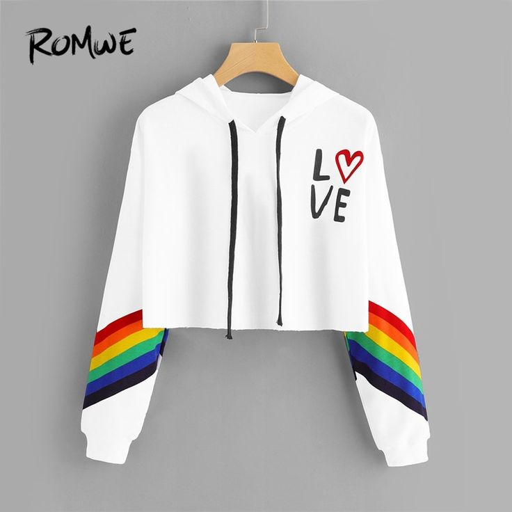 ROMWE Striped Letter Rainbow Print Contrast Crop Hoodie Women Casual Autumn New …