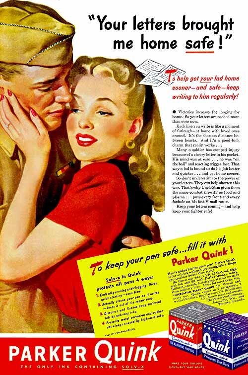 "Quink ""Your Letters Brought Me Home Safe!"" 1945, Gil Elvgren"