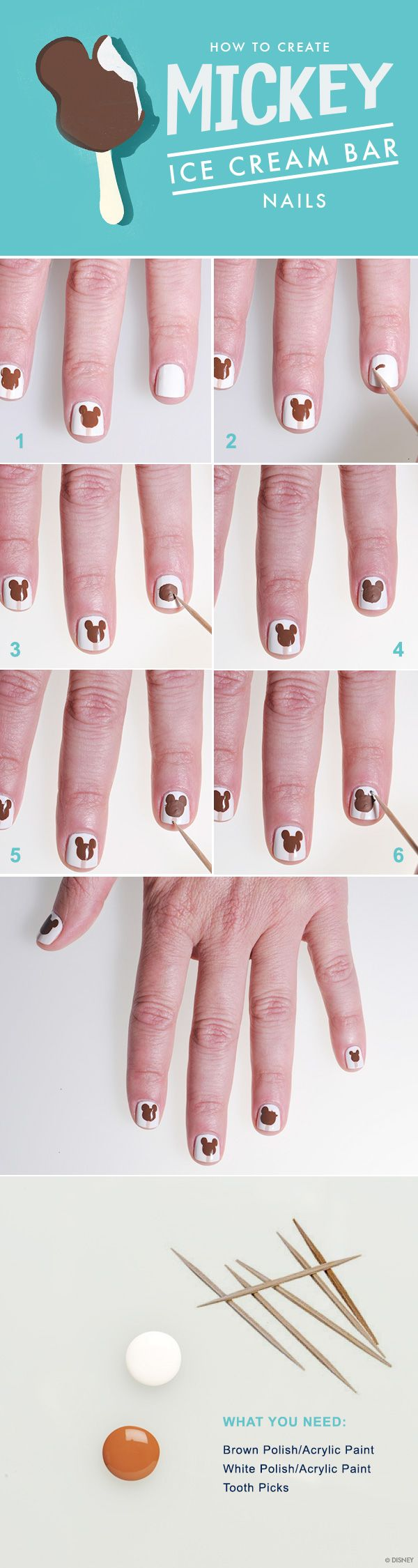 How to Create Mickey Ice Cream Bar Nails #WaltDisneyWorld