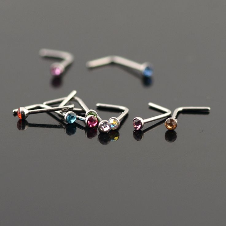 5pcs Women Crystal Fake Nose Piercing Jewelry Nose Hooks Septum Piercing Jewelry Multicolor L Bend Nose Studs 20 Gauge