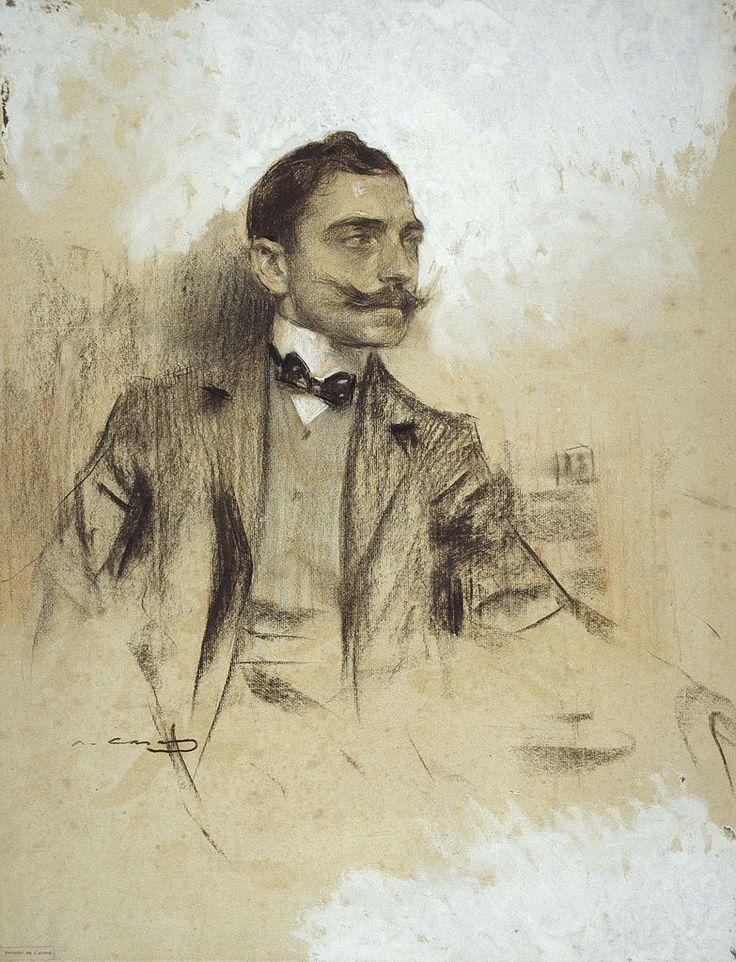 Manuel Benedito Vives by Ramon Casas i Carbo (Catalan painter, 1866-1932)