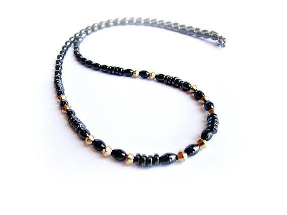 Black hematite necklace stone beaded necklace black gold bead necklace delicate gemstone necklace unisex necklace black brass necklace gift