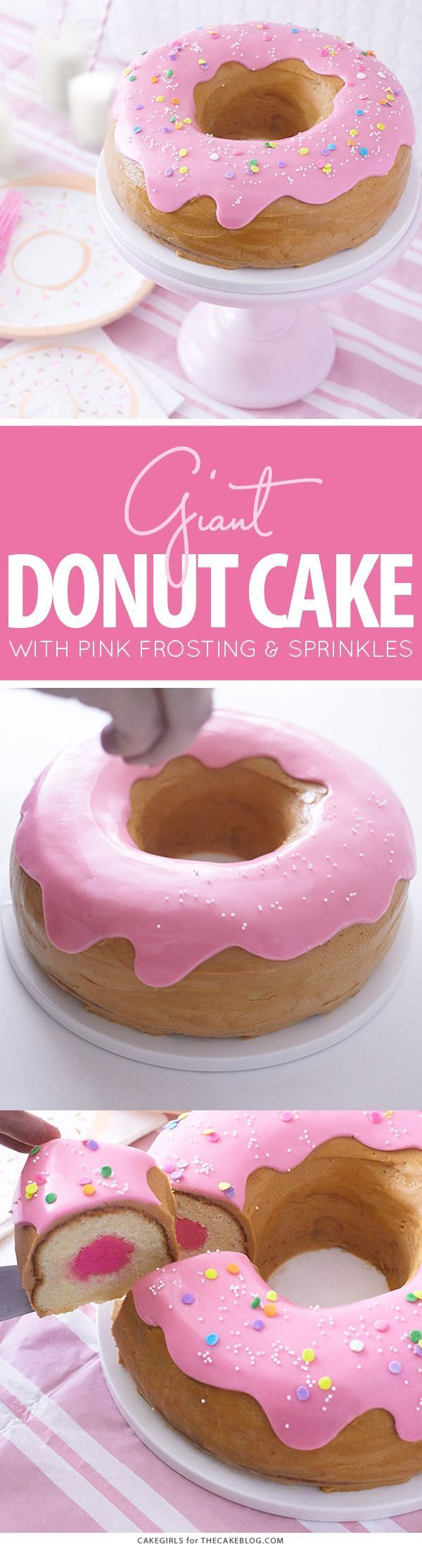 Giant Donut Cake! Learn how to make this adorable, sprinkle-coated, giant donut cake with a simple step-by-step tutorial   by Cakegirls for TheCakeBlog.com