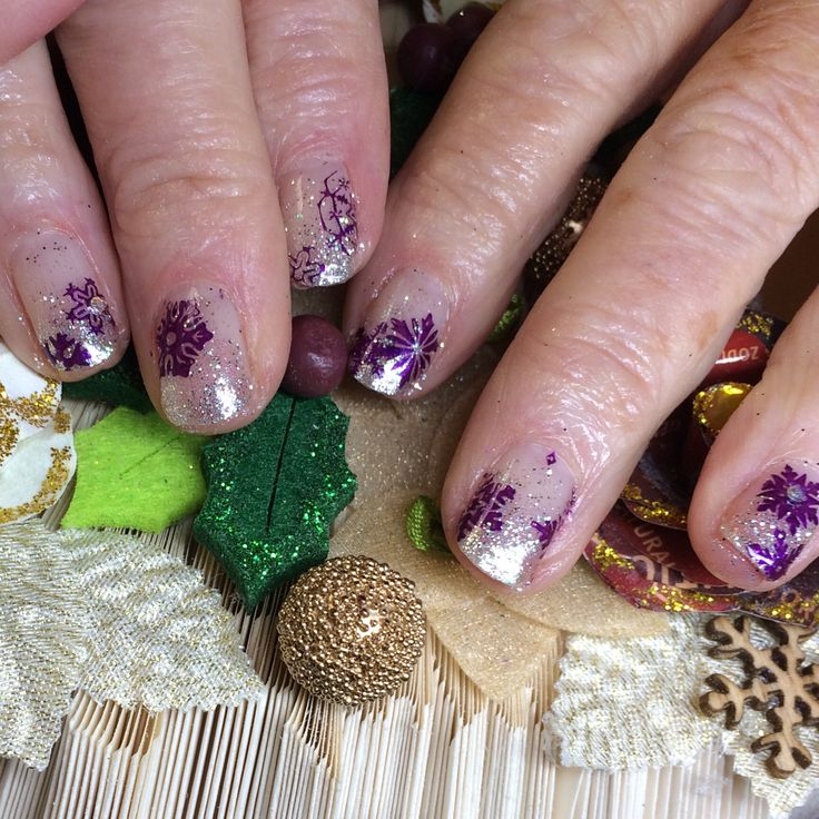 This client proves age is irrelevant when it comes to having fun with your nails. At 86 this lady is rocking a The Nail Space glitter fade with All That Jazz UK #snowflake stamping set by Hand & Nail Harmony from NailHarmonyUK/Gelish.