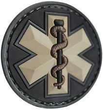 EMT STAR 3D PVC USA EMS MEDIC RED CROSS TACTICAL ARMY MORALE SWAT VELCRO PATCH
