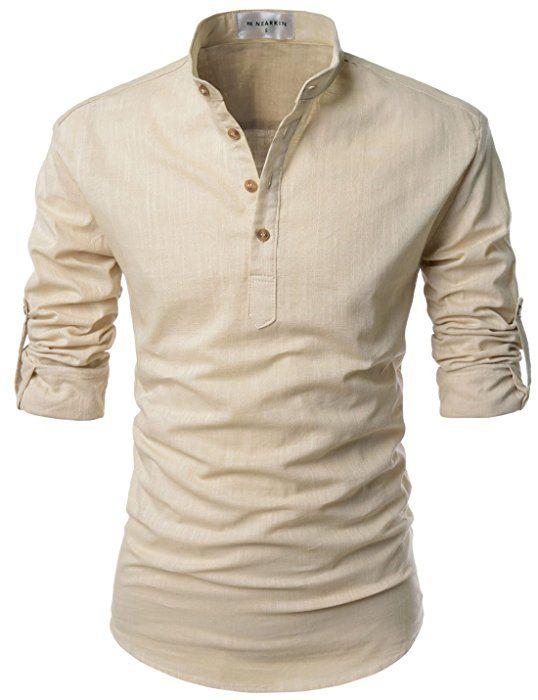 NEARKIN (NKNKN350) Beloved Men Henley Neck Long Sleeve Daily Look Linen Shirts BEIGE US XS(Tag size XS)