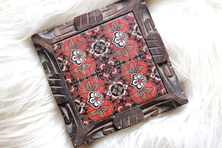 Vintage Ceramic Tile Trivet / Vintage Trivet / Vintage Ceramic Tile /Wall ornament /Vintage Pot Holder - Made in Mexico / Boho Decor / Boho by VelvetPoppyVintage on Etsy