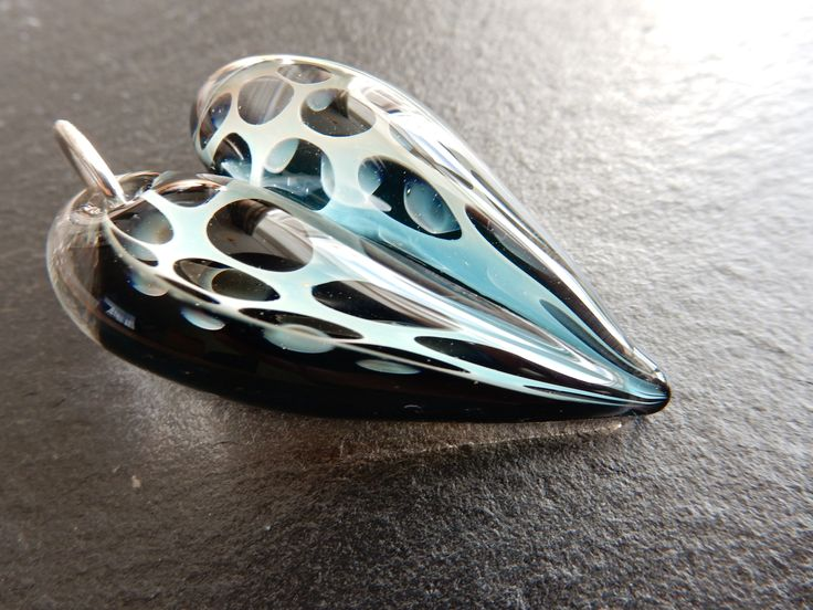 glass heart pendant with silver fume honeycomb