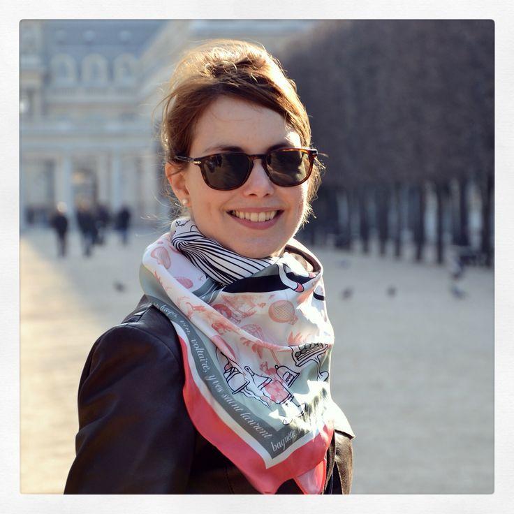 """Grecian in Paris"" silk scarf by Grecian Chic at Jardin Palais Royal, in Paris!"