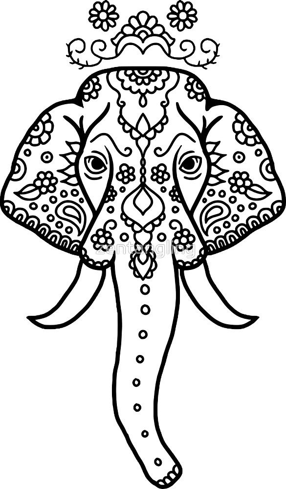 Image Result For Zentangle Elephant Elephant Head Drawing