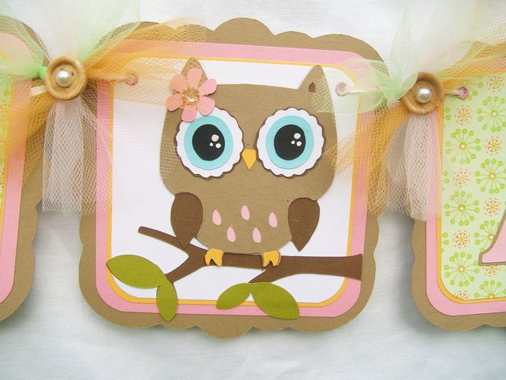 Woodland owl baby shower banner green pink by NancysBannerBoutique