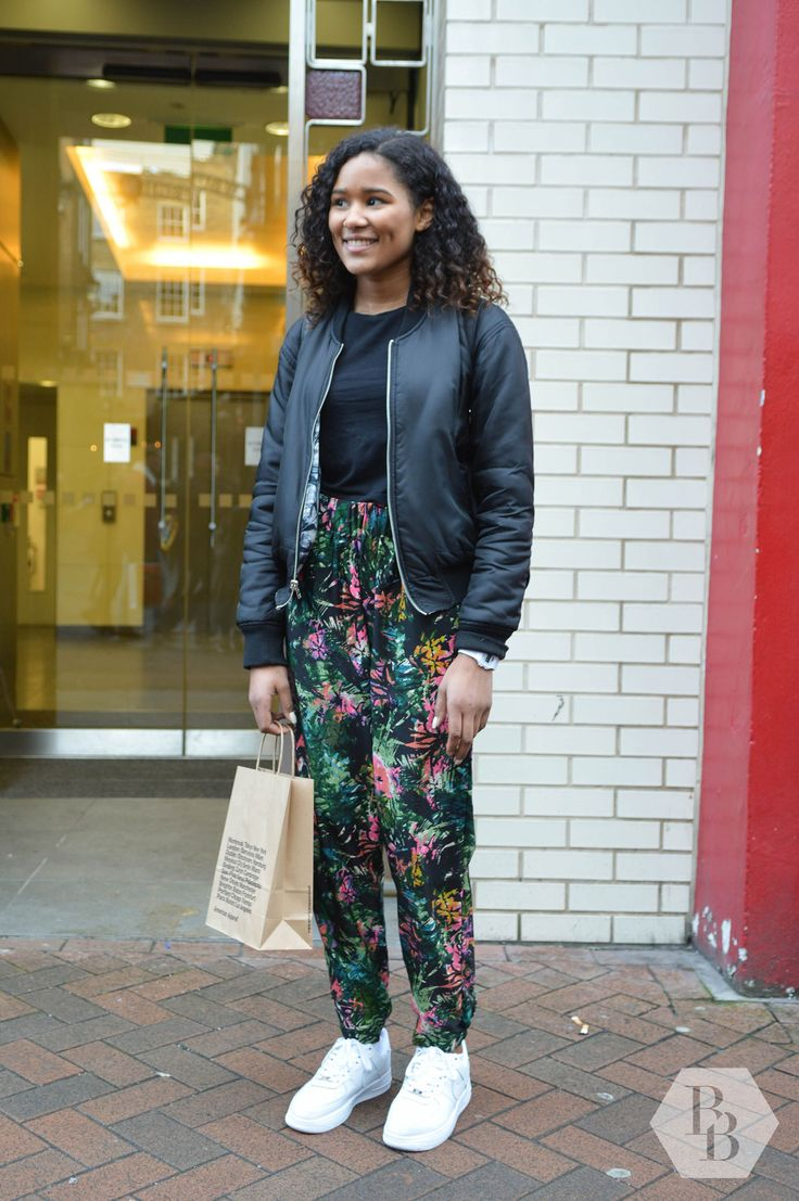 Ada was visiting from Norway and her Nike Air Force Ones, tropical print Primark trousers and Bik Bok bomber jacket were bringing some fun to London style! #BlackBallad #StreetStyle #Fashion