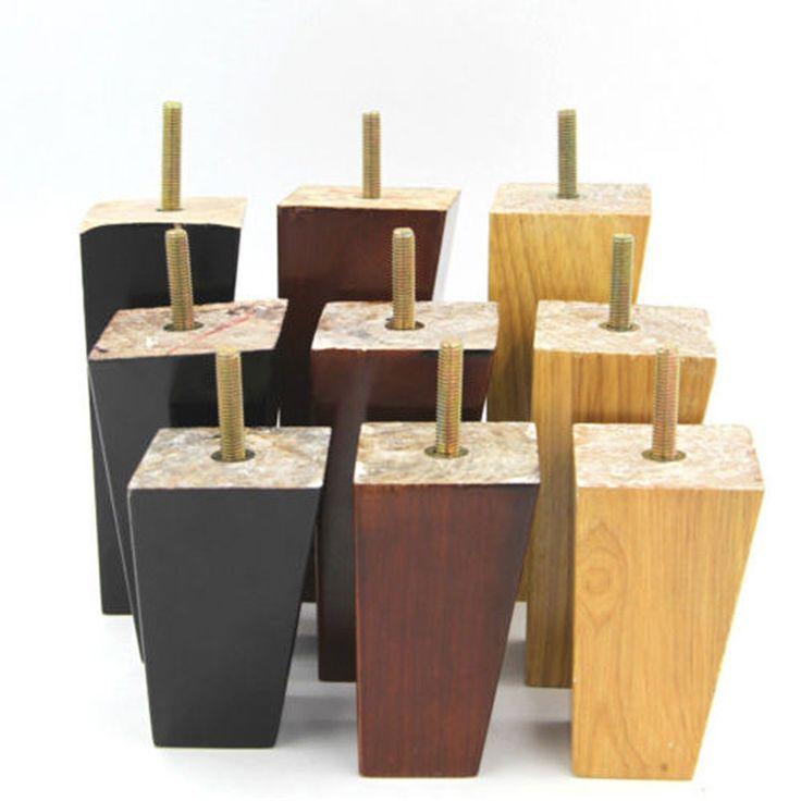 4 pcs per Set 4 ''5'' 6 ''Lancip Kaki Sofa Kayu Solid Lemari Kabinet Furniture Kursi Kaki