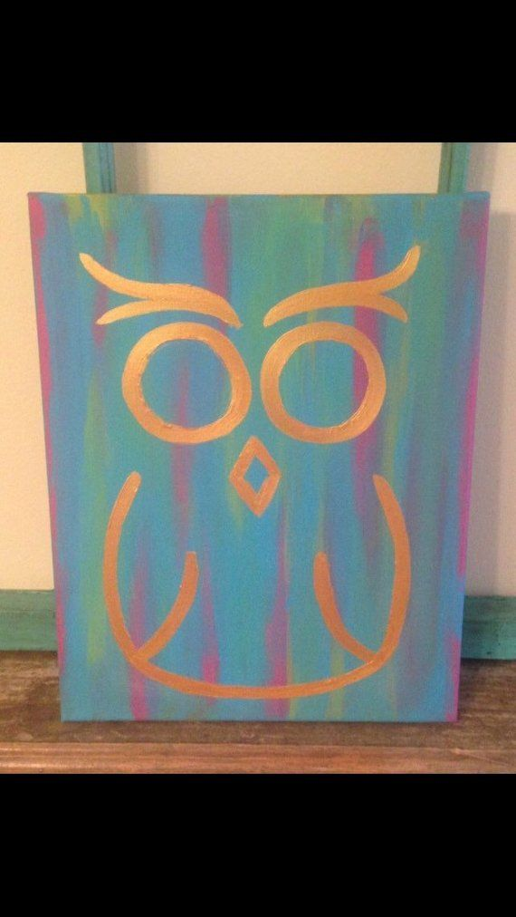 Golden Owl Canvas Simple Canvas Paintings Canvas Painting