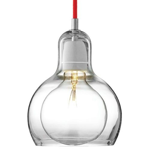 Non-UL Listed Red Fabric Cord / Clear Glass