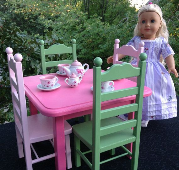 Cafe/Breakfast Table and Chairs Set for American Girl or other 18  doll | dolls u0026 stuff | Pinterest | American girls Dolls and Girls.  sc 1 st  Pinterest & Cafe/Breakfast Table and Chairs Set for American Girl or other 18 ...