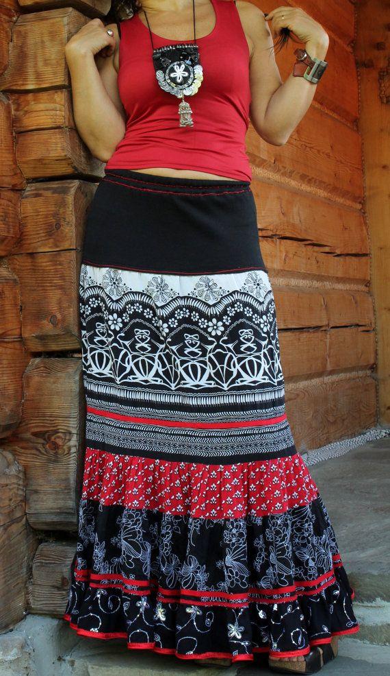 M L gitano reciclado falda larga hippie boho por jamfashion en Etsy