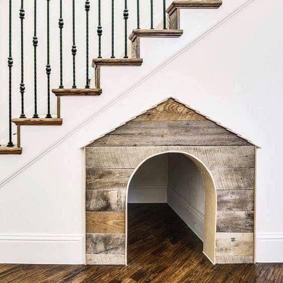 sweet doghouse in the nook under the stairs