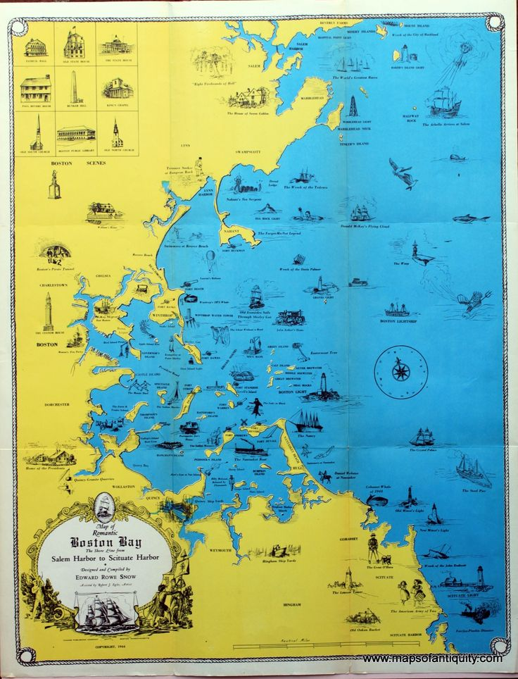 Map Of Oregon Coast%0A Map of Romantic Boston Bay  The Shore Line from Salem Harbor to Scituate  Harbor  Antique Maps and Charts  u     Original  Vintage  Rare Historical  Antique Maps