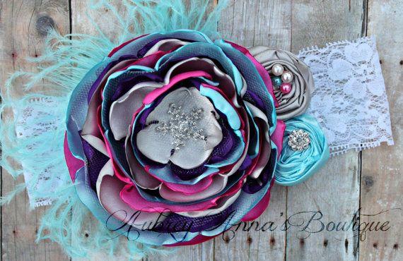 Frozen Headband, OTT, Couture, Singed Satin Flower, Satin Flower Headband, Photo Prop, Photography