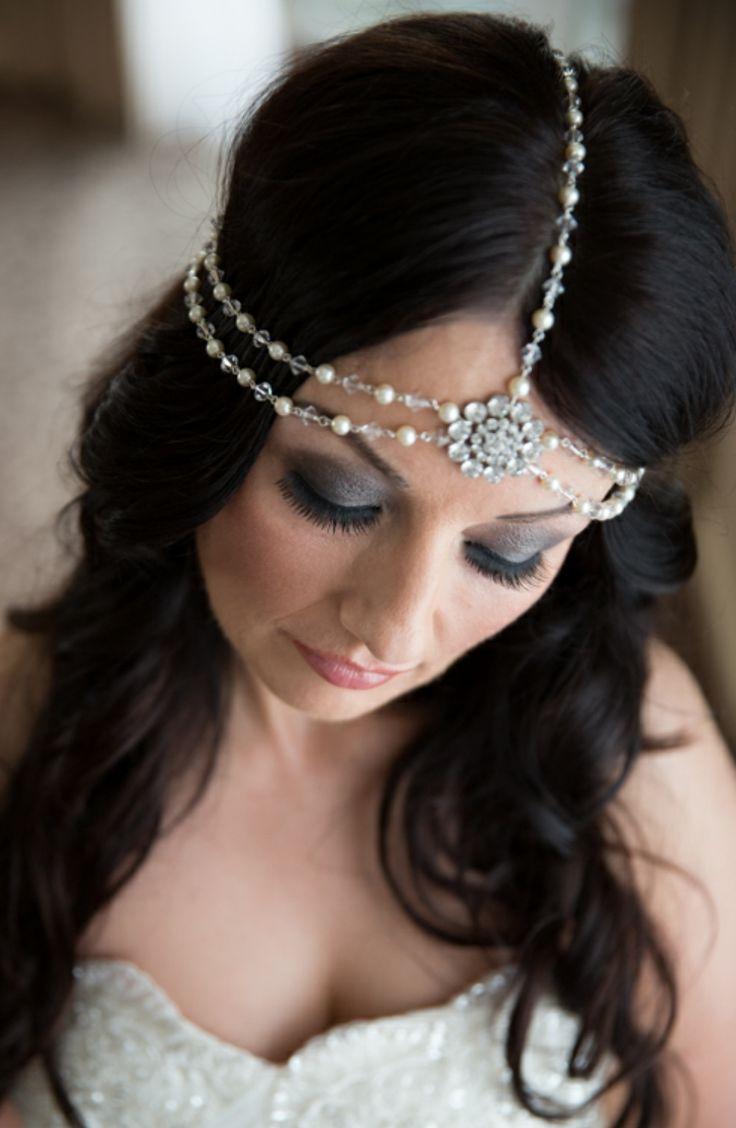 Bespoke version of our Suzie Headpiece. http://www.julesbridaljewellery.com/products/boho-style-draping-hair-pearls-and-rhinestones-suzie