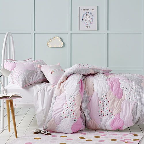 Cloud Quilted Quilt Cover Set Pink