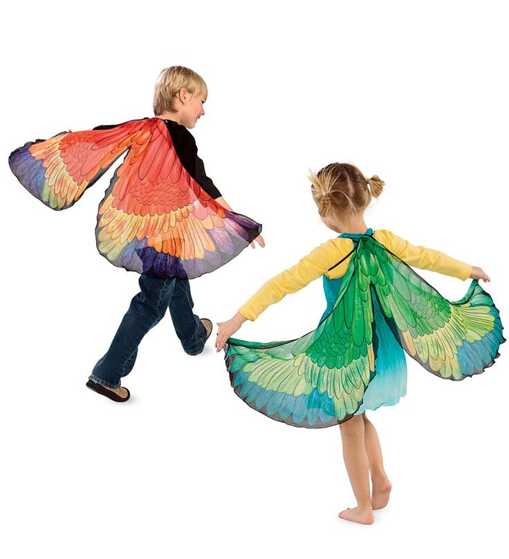 Fanciful Parrot Wings—Children can let their imaginations soar with these colorful fabric wings that resemble a macaw. They have shoulder straps and finger tabs so children can slip them on and spread their wings!