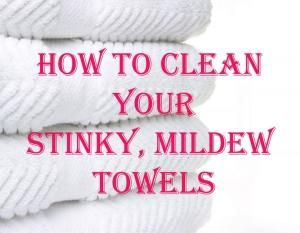Wash your towels in hot water with a cup of vinegar, and then run again in hot water with a half-cup of baking soda. That will strip your towels from all of that residue and mildew smell and will actually leave them feeling fluffy and smelling fresh. ***Do not add laundry detergent to either wash. Just once with vinegar and once with baking soda. *** by evelyn