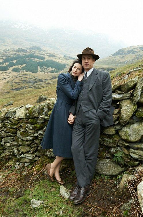 Caitriona Balfe (Claire Randall) and Tobias Menzies (Frank Randall) - Outlander (TV Series, 2014- ) #dianagabaldon