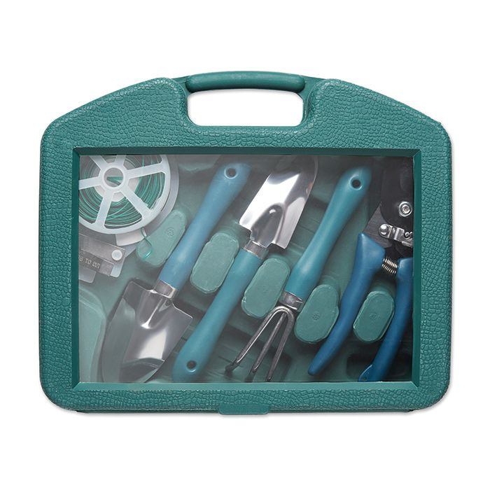 Best gift idea for #gardener. Set of 5 garden tools in box. Includes harrow, 2 trowels, 15m. wire and pruning scissors. gift items dubai