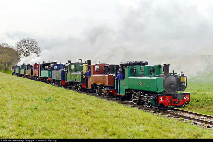 """Saint Valery sur Somme, France - April 26, 2013: """"A 'light' engine move with 10 narrow gauge steam locomotives, all working under their own steam."""""""
