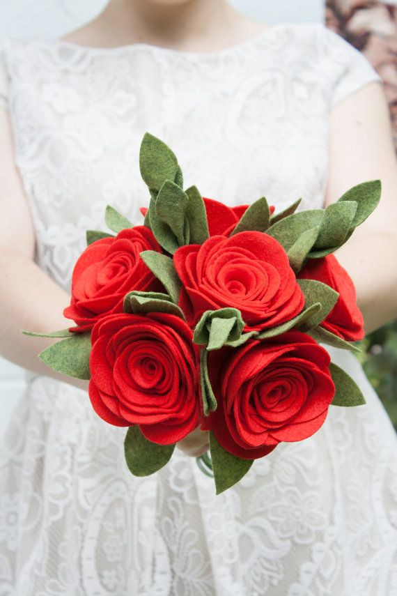 Hey, I found this really awesome Etsy listing at https://www.etsy.com/listing/198788106/red-rose-bouquet-felt-wedding-bouquet