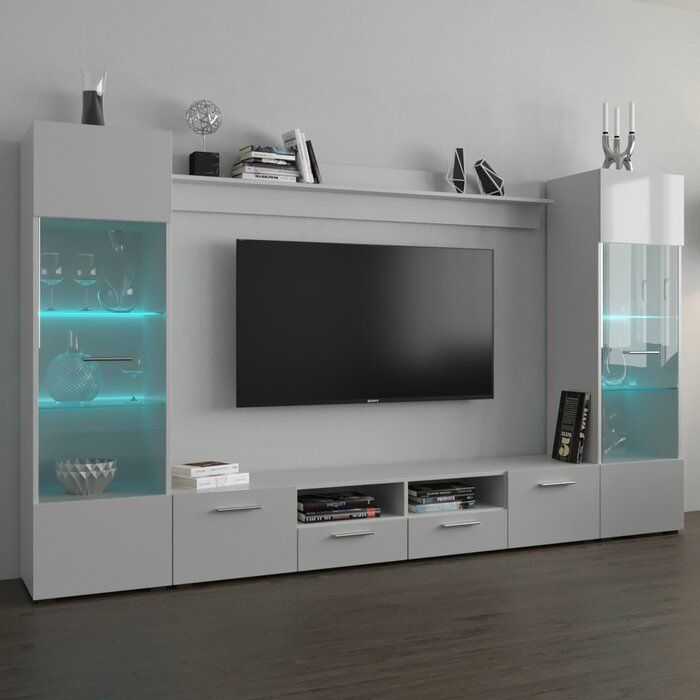 Pledger Entertainment Center For Tvs Up To 85 In 2020 Tv Room Design Entertainment Center Wall Unit Living Room Tv Unit Designs