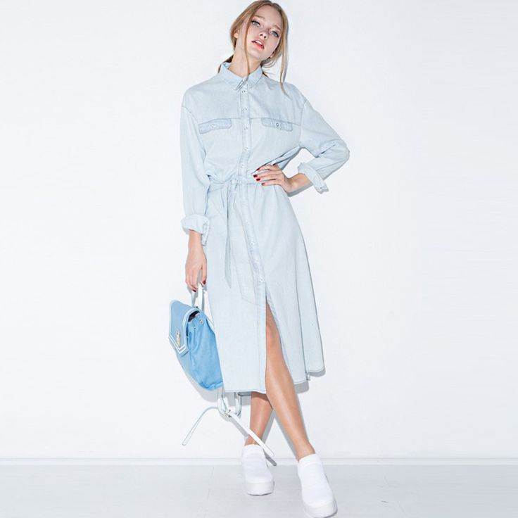 Spring new street fashion women denim shirt dress vintage casual demin dresses