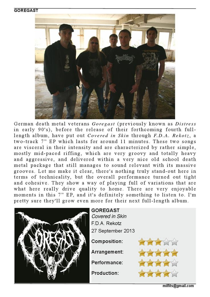 """Goregast  """"Covered in Skin"""" 7"""" EP - Review - (Milfits 'zine, issue#3)"""
