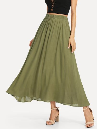 fb799f6091 Shop Elastic Waist Swing Skirt online. SHEIN offers Elastic Waist Swing  Skirt & more to fit your fashionable needs.