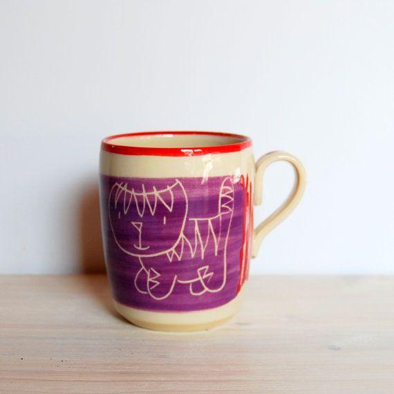 Cat mug Ceramic mug Coffee mug Tea cup Pottery mug Violet mug