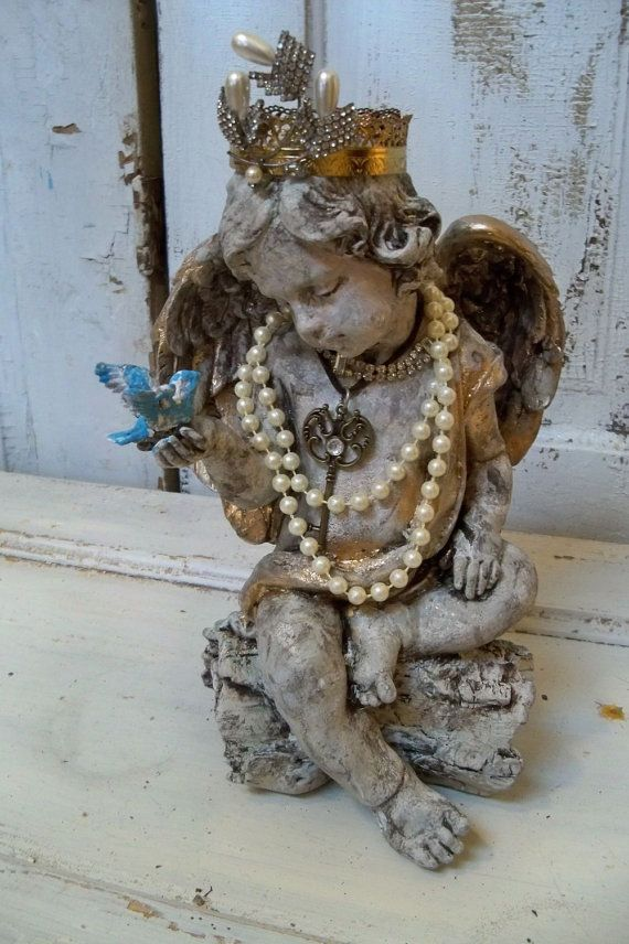 Outside garden cherub for inside decor and display for jewelry. • Shabby Chic French Rustic Decor Idea