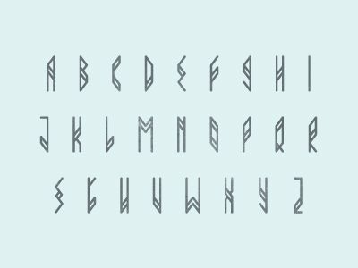 Alphabet.  Unusual font, kind of like a rune.