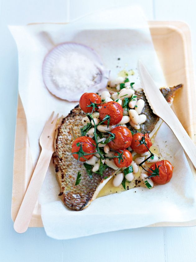 roasted fish with white bean and parsley salad