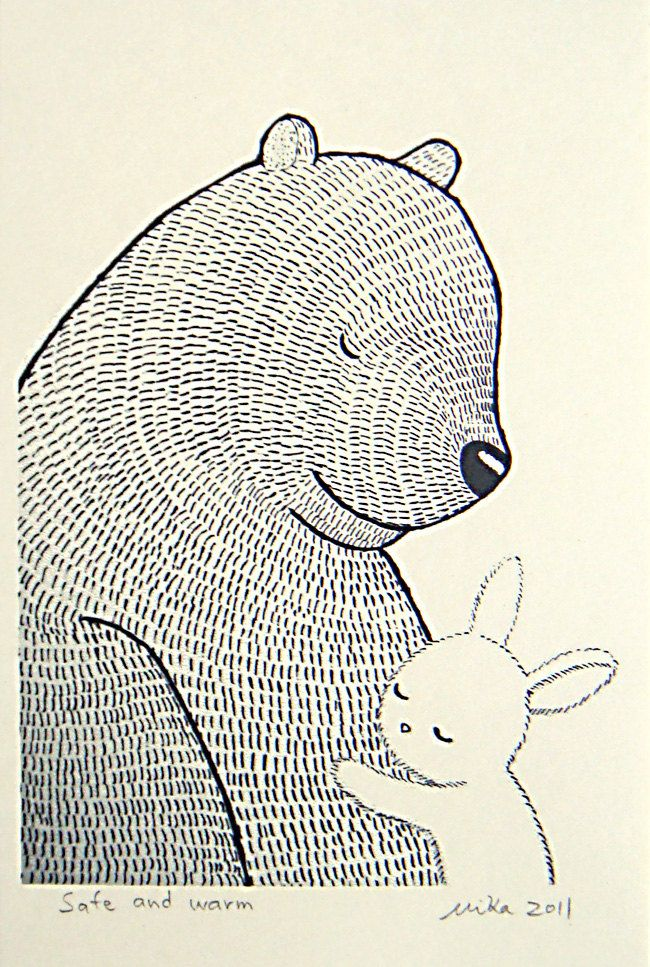 Bunny Bear Print Original Ink Drawing Black White Ivory Love Illustration 4x6 MiKa Art