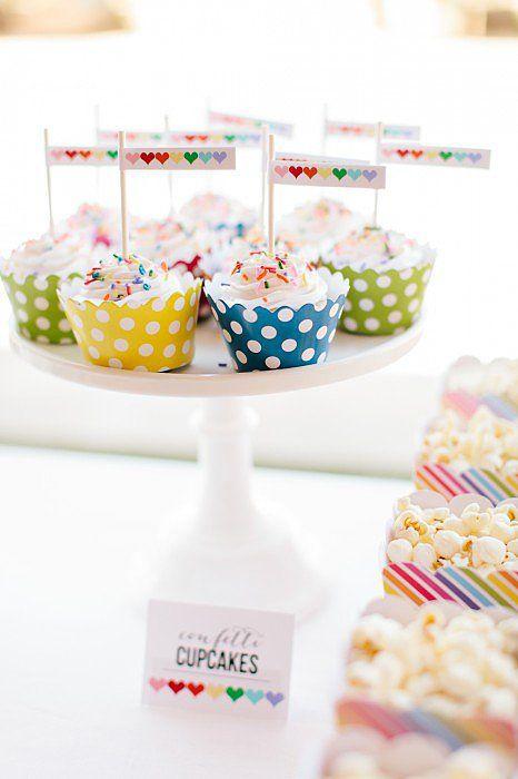 Cupcakes | A Sweet Rainbow-Heart Birthday Party | POPSUGAR Moms