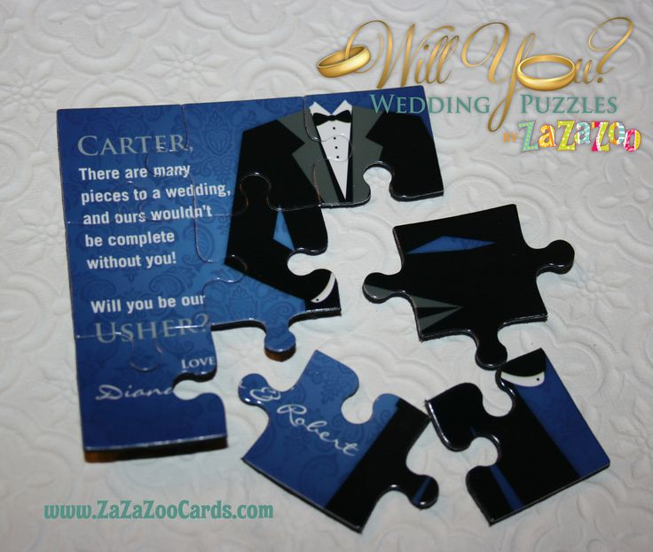 Wedding puzzles for men - Will you be my Usher. #usher, #wedding, #male, #role www.zazazoocards.com/