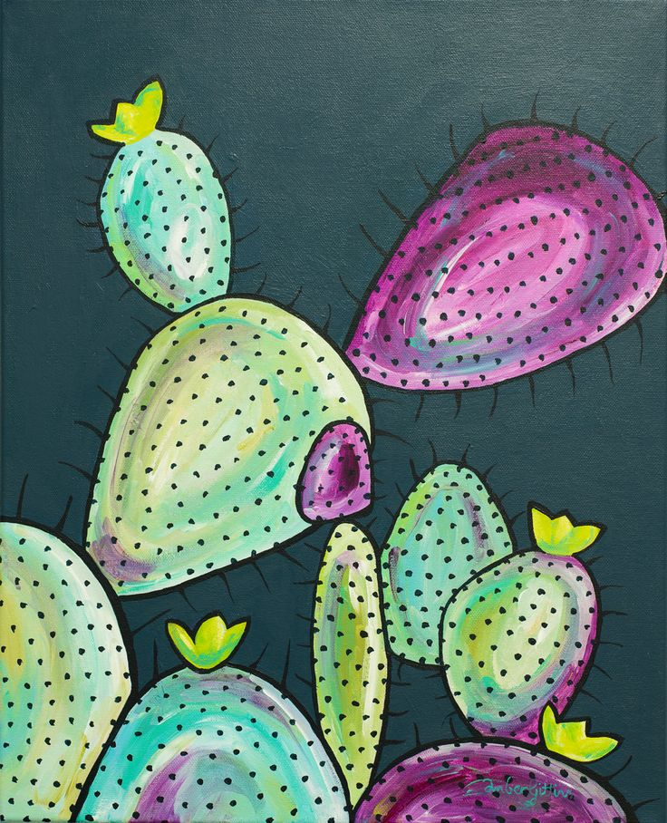 """""""Quirky Cacti"""" by Amber Gittins. Paintings for Sale. Bluethumb - Online Art Gallery"""